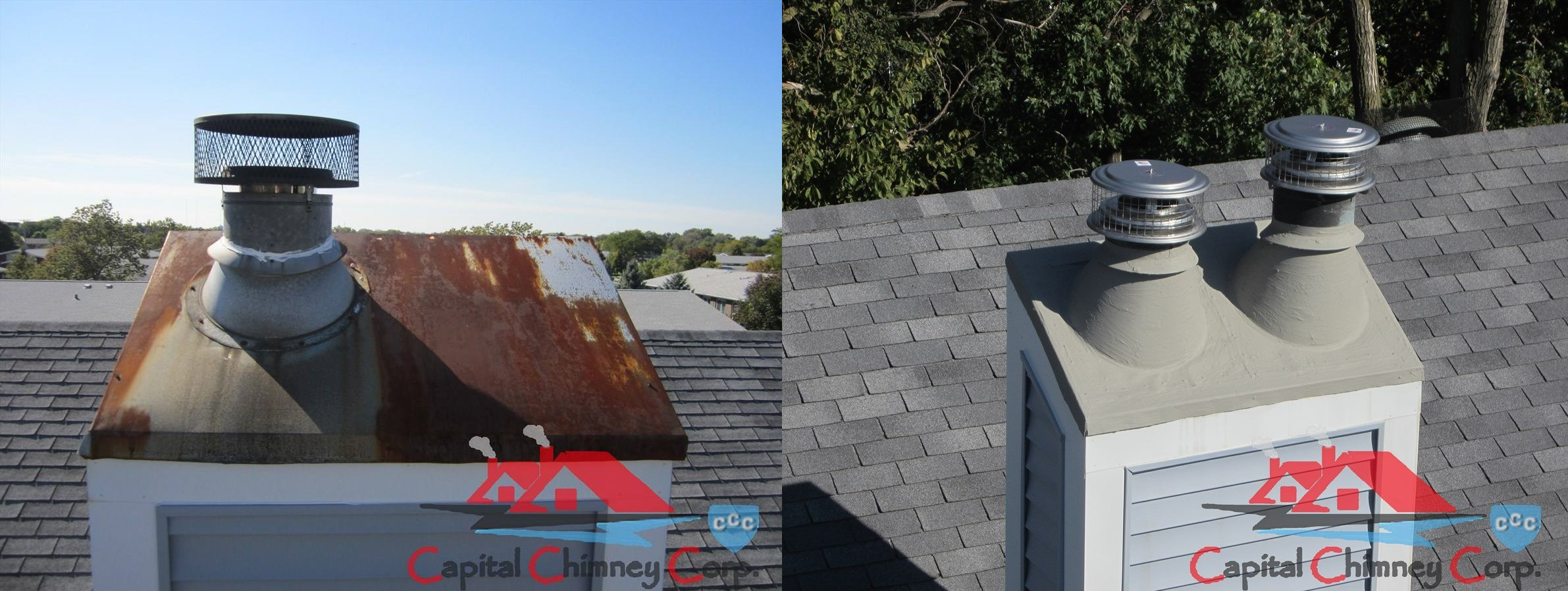 Before and After Chimney Cap Replacement
