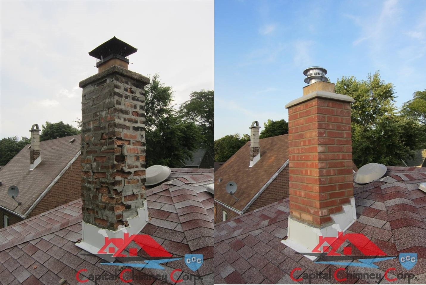 Before and After Chimney Rebuild and New Cap