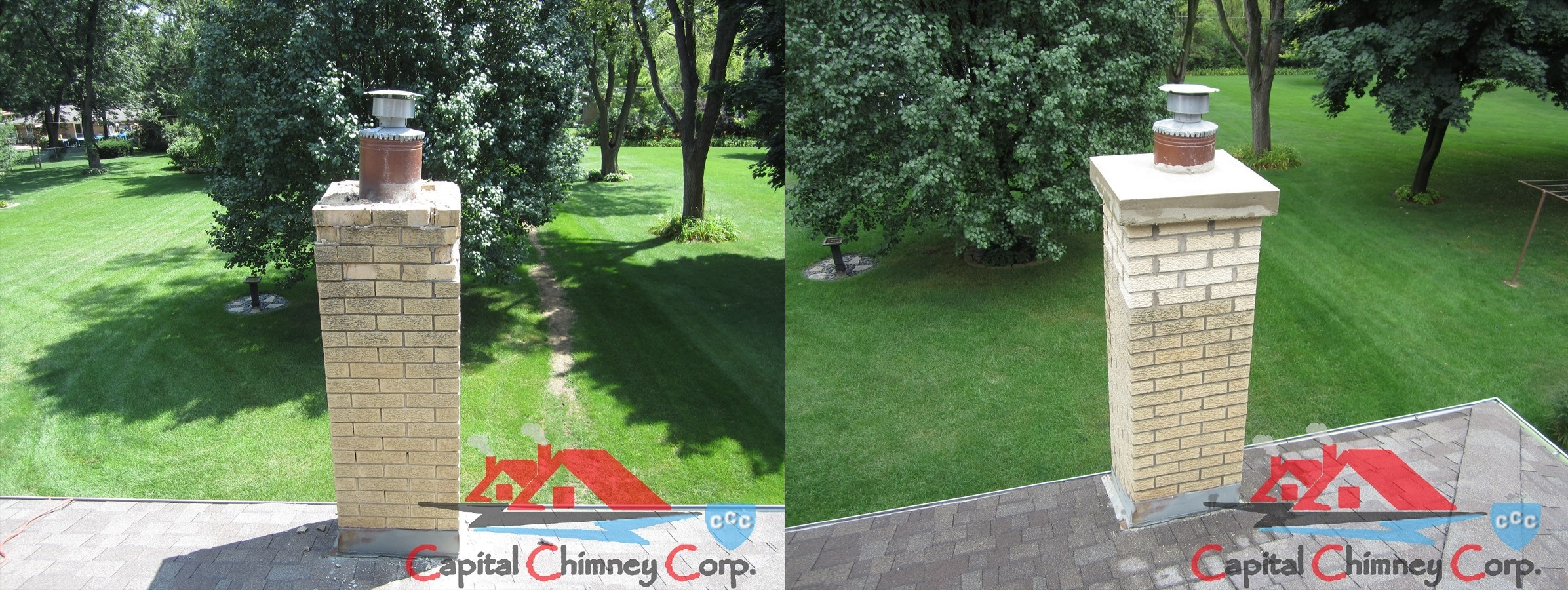 Before and After Tuckpointed Chimney