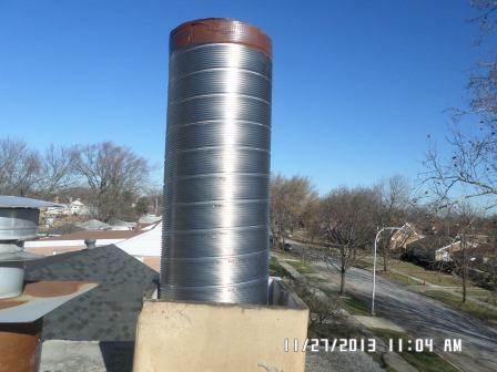 Large Chimney Liner Installed