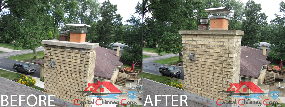 Before and After Pictures of Chimney Crown Coat Rebuild