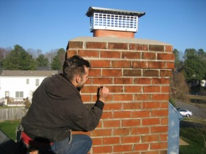 Replacing the mortar on a chimney